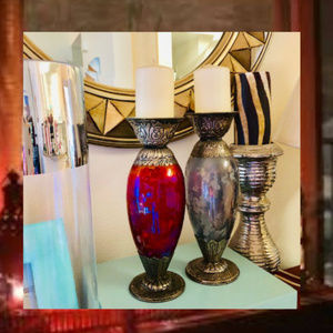 HOME DECOR CANDLE HOLDERS ETCHED GLASS BOHO